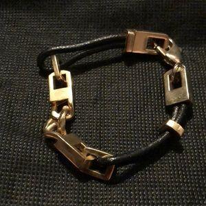 BCBG leather gold tone bracelet